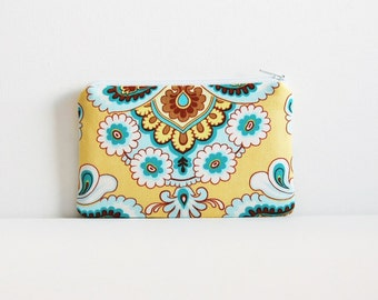 Coin Purse, Small Zipper Pouch, Women and Teens, Amy Butler, French Wallpaper in Mustard