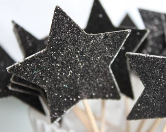 10 decorations for Cupcakes (cupcake toppers) - black with glitter stars