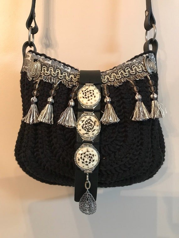 Handmade black crocheted with tassels, tribal, hobo, boho, hippie, ibiza, over the shoulder, cross body bag