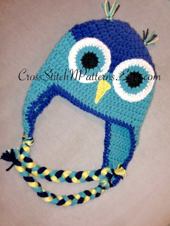 PATTERN TN013 Crochet Owl Hat Pattern Owl Hat Crochet Baby