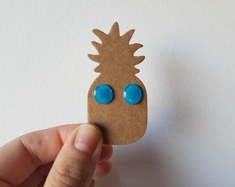 Blue glitter - cute novelty stud earrings