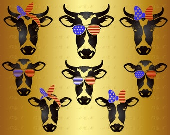 60% OFF, Heifer SVG Cow Svg 4th of july svg Farm Dairy Cow Face Bandana Sunglasses Clipart Decal Png Eps Dxf Vinyl Cut File Silhouette Shirt