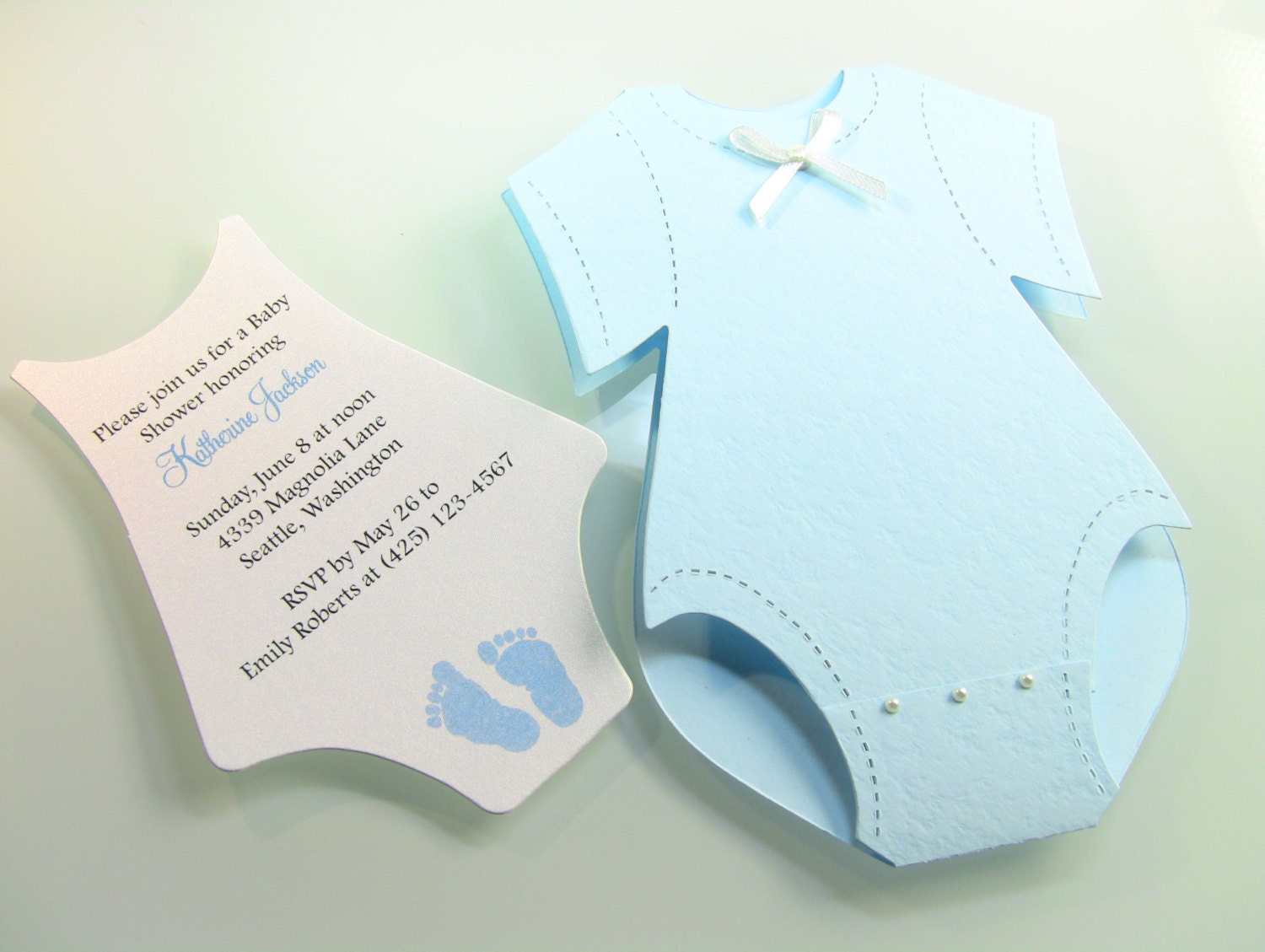 Customize Any Color 10 Onesie Baby Shower Invitation Thank