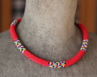 Red African Necklace, African Inspired Necklace, Beadwork Necklace, Bead Crochet Necklace, Maasai Style Necklace-MADE TO ORDER