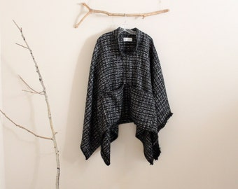 ready to wear fall winter wool linen blend swallow asian poncho  / plaid wool / black and white checked print wool poncho / free size poncho