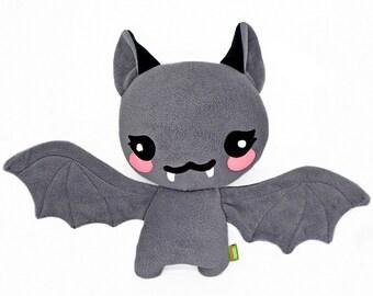 Bat plushie kawaii soft toy pillow cushion handmade vampire halloween cute scary