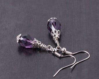 Small Gothic/Victorian Crystal & Silver Drop/Dangle Earrings-Purple/Wine Red/Black/Red