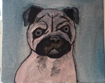 Pug puppy - acrylic painting