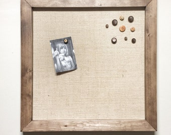 """Wooden Rustic Magnetic Burlap Memo Board Frame - 24"""" x 24"""" Bulletin Board with Hardwood Construction, Magnetic Wooden Buttons"""