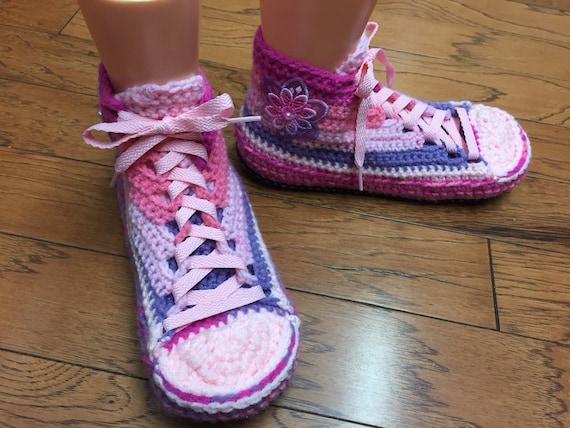 8 tennis sneakers flower tennis crochet Listing 398 pink shoes slippers shoes sneaker Crocheted 10 slippers flower Womens purple slippers gFCZqCxw