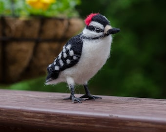 Woodpecker needle felted handmade wool bird
