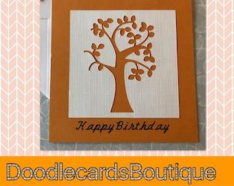 Unusual Birthday tree card - a classic chic card