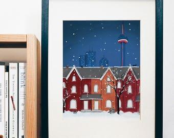 ART PRINT - Toronto Night Scene  - print of a gouache painting