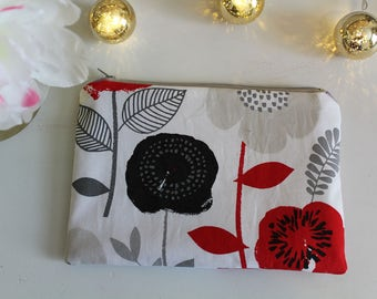 Medium Floral Zipper Pouch. Wallet, Money Holder, Makeup Bag, Cosmetic, Purse Organizer, Backpack Organizer, Toiletry Pouch, Travel Pouch.