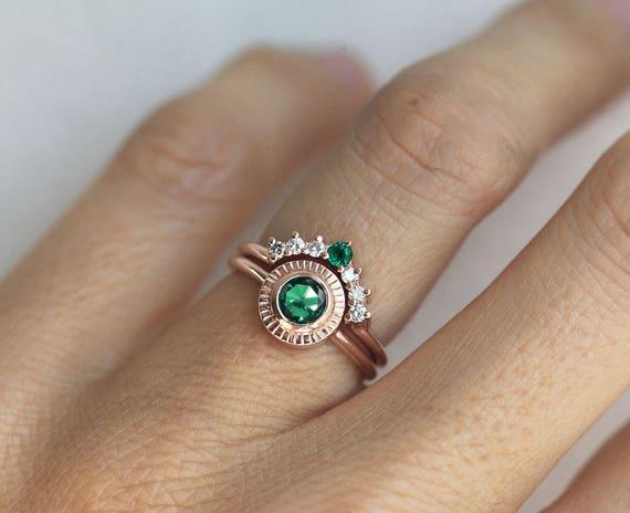 Emerald Ring Emerald Diamond Ring Set Emerald Wedding Ring