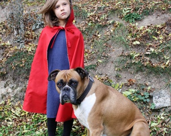 little red riding hood cape with fur lined hood, little red riding hood costume, red cape, kids cape, cape with hood,halloween costume