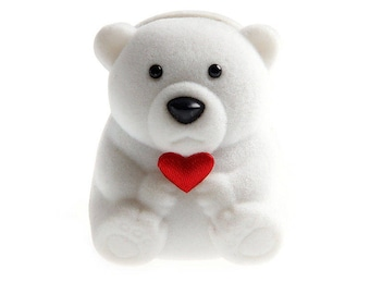 Teddy bear white ring for kids jewelry box