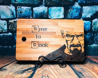 Breaking Bad Cutting Board - Time to Cook - Gift for Him - Walter White - Heisenberg Cutting Board - Custom Engraved Board