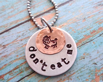 Cow Necklace-Cute Cow Stamped Personalized Necklace-Don't Eat me Vegetarian Necklace- Mixed Metals Custom Name Date Words Necklace -S248