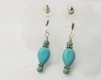 Teardrop Blue Green Dangle Earrings