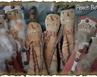 ePattern~Extreme Primitive Santa and Snowman Bowl Fillers, PDF File, Instant Download