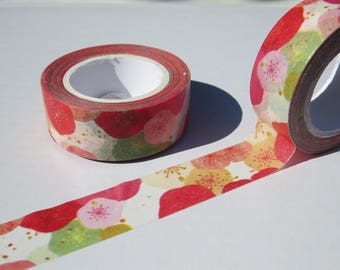 Japanese Floral in Pink and Green Washi Tape - 15mm X 7 metres - Miss Time  Floral Paper Tape