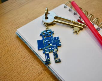 Blue Robot Circuit Board Keychain / Key fob - Motherboard Keyring - Computer Geek Gifts - Software Engineer - Robotics - Tech Accessories