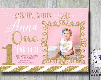 Pink Gold 1st Birthday Invitation