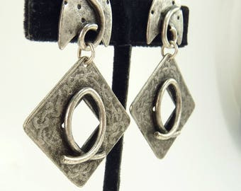 80s Modernist Earrings Silver Pierced Dangle Earrings