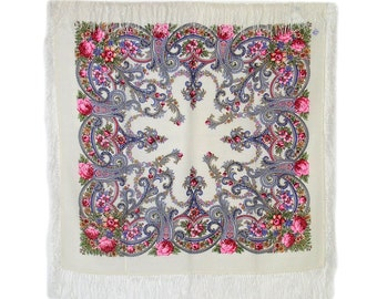"Beautiful 35x35""' Russian wool shawl (134501) with silk fringes"