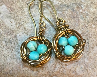 Earrings little birds nest with blue stone and brass wire