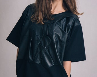 Leather detail black dress / Woman's leather short dress / Oversized fashion dress / Fasada 16011