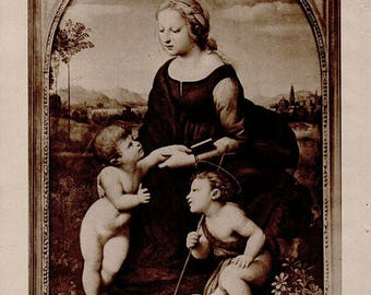 Antique print 1910. Raphael's Virgin and Holy Child. Photogravure print. 107 years old print. Antique print plate.9.5x7 inches, 24x18cm