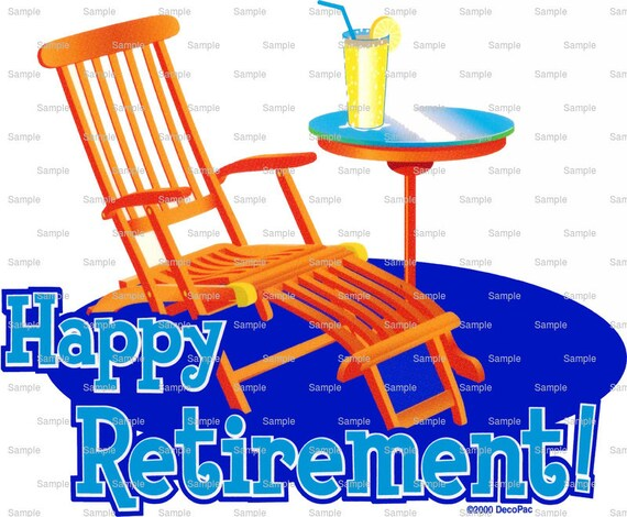 Happy Retirement Beach Chair Birthday - Edible Cake and Cupcake Topper For Birthday's and Parties! - D988