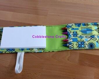 Crayon Notepad Holder Small - Geo w/ Green - Toddler Coloring, Kids Art Supplies, Crayon Holder, Crayon Notebook, Stocking Stuffer