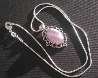 Pendant with Amethyst cabochon and silver chain