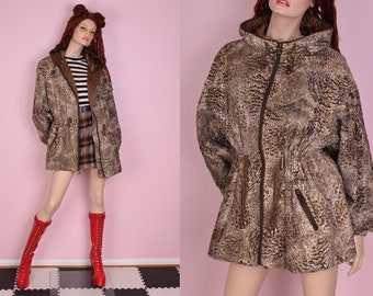 90s Faux Fur Hooded Coat/ Large/ 1990s/ Jacket
