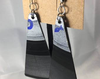 Vinyl Record Earrings with Blue and Silver Labels - Wedge