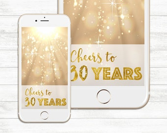 INSTANT DOWNLOAD, Cheers to 30 years, Snapchat Geofilter, Birthday Geofilter, Snapchat Geofilter, 30 years Birthday, cheers thirty years