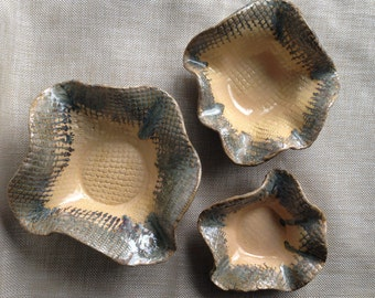 Handbuilt HIgh-Fired Ceramic Pottery Snack Bowls Set