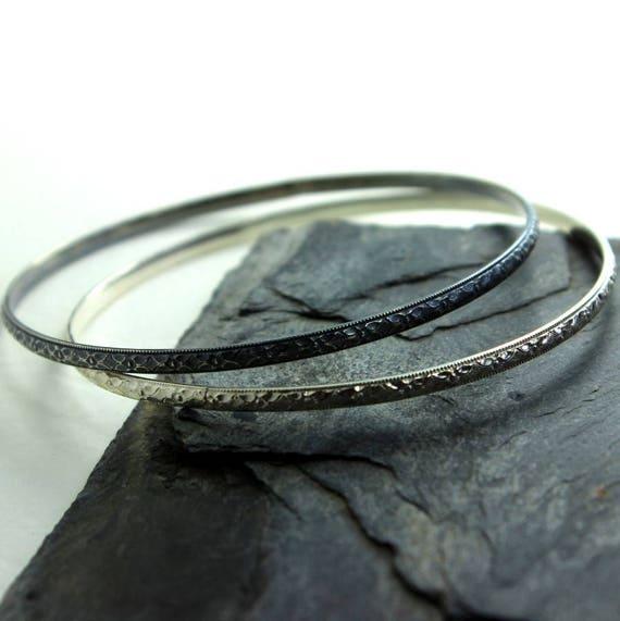 Ornate Braid Sterling Silver Bangle Bracelet- Polished, Oxidized Fall Fashion Stacking Bangle