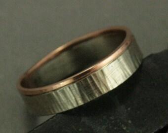 Solid Gold zwei Ton-Ring--Männer Hochzeit Ring - Rinde Umleimer--flach gehämmert Band--rustikal Ring - Rose und Weißgold - Baum Rinde Ring - Zweig