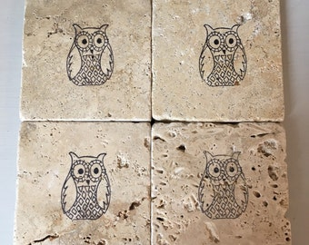 Owl stone coaster set