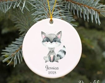 Kids Christmas Ornament Personalized Christmas Ornament Raccoon Children's Ornament Custom Holiday Ornament Woodland Animals Porcelain