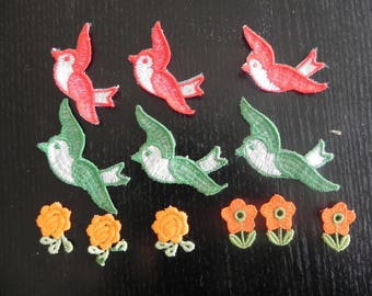 12 cotton appliques: 3 Red birds, 3 green and 2 x 3 orange flowers