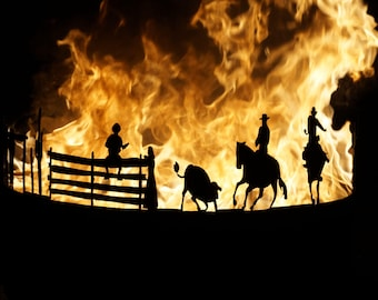 Fireplace fire Bowl Terassenfeuer fire basket Western cowboy horse