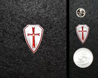 Hand Cast Crusader Shield 1 in. Lapel Pin