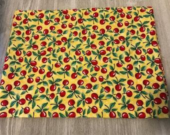Retro cherry cotton fabric