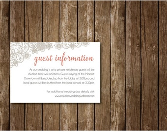 Lace Vintage Guest Information Card, Wedding Invitation