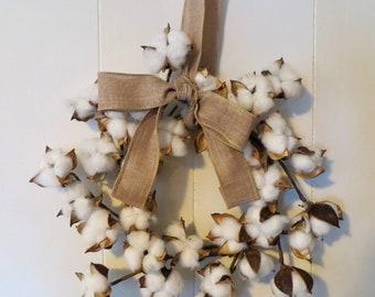 Cotton Wreath, Wreath,  Cotton Boll Wreath, Cotton, Dried Flower Wreath